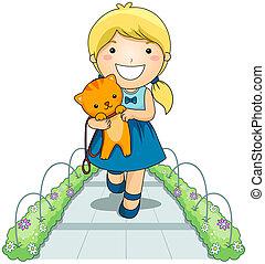 menina, e, animal estimação, gato