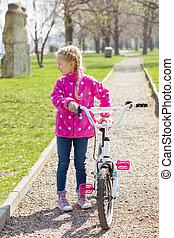 menina, e, bicicleta