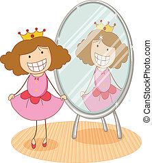 menina, e, espelho