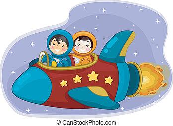 menina, e, menino, astronautas, montando, um, navio espaço