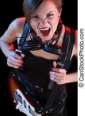 menina, elétrico, rocha, dela, estrela, segurando, guitar., excitado