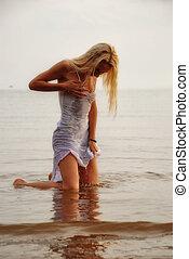 menina, em, água