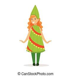 menina, em, árvore natal, equipamento, vestido, como, inverno, feriados, símbolo, para, a, traje, natal, carnaval, partido