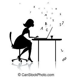 menina, em, a, computador, impressões