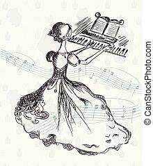 menina, em, a, piano, vindima, cartão