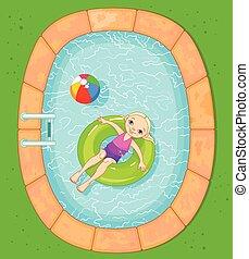 menina, em, a, piscina