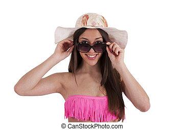 menina, em, biquíni, com, óculos de sol