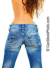 menina, em, calças brim azuis