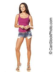 menina, em, calças brim, shorts