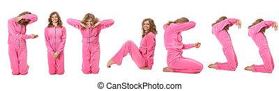 menina, em, cor-de-rosa, desporto, roupas, representa, palavra, condicão física