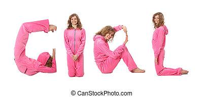 menina, em, cor-de-rosa, roupas, fazer, palavra, menina, colagem