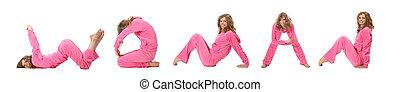 menina, em, cor-de-rosa, roupas, fazer, palavra, mulher, colagem