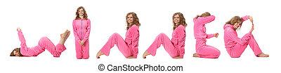 menina, em, cor-de-rosa, roupas, fazer, palavra, vencedor, colagem