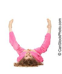 menina, em, cor-de-rosa, roupas, representa, letra, u
