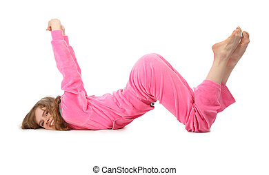 menina, em, cor-de-rosa, roupas, representa, letra, w