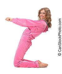 menina, em, cor-de-rosa, roupas, representa, letra, z