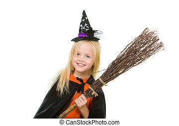 menina, em, dia das bruxas, ornamentar