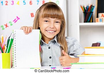 menina, em, escola, em, a, escrivaninha