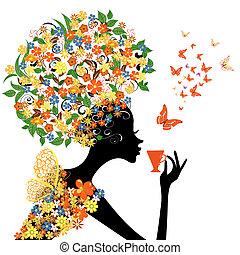menina, em, flores, com, um, quentes, copo