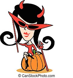 menina, em, halloween traje, corte arte