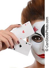 menina, em, imagem, de, joker, com, cartões, em, estúdio, disparar