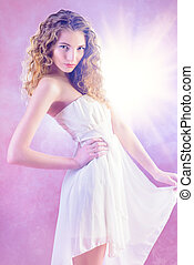 menina, em, luz, vestido