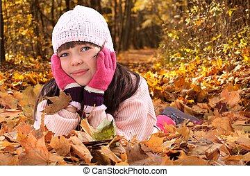 menina, em, outono sai