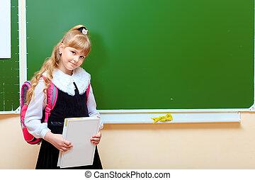 menina, em, sala aula