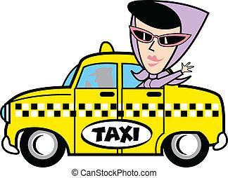 menina, em, táxi, corte arte