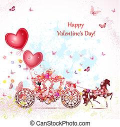 menina, em, um, carruagem, com, valentines