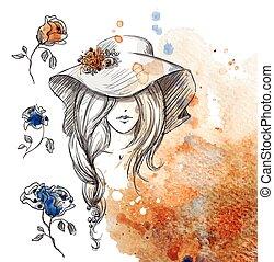 menina, em, um, chapéu