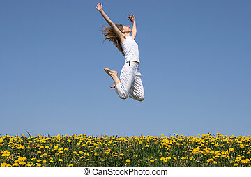 menina, em, um, feliz, salto