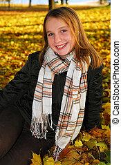 menina, em, um, outono, parque