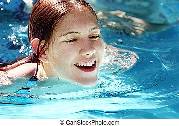 menina, em, um, piscina