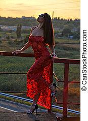 menina, em, um, vestido