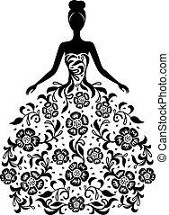 menina, em, um, vestido, com, floral, ornamento, silueta