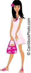menina, em, um, vestido cor-de-rosa