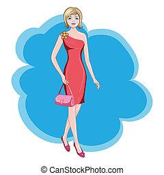 menina, em, um, vestido vermelho