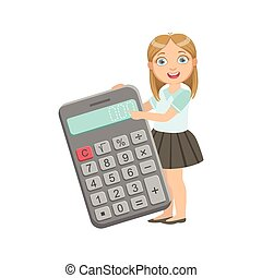 menina, em, uniforme escola, com, gigante, calculadora