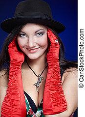 menina, em, vermelho, luvas