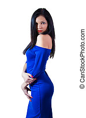 menina, em, vestido azul