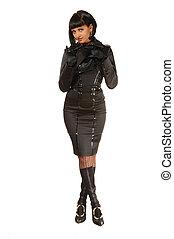 menina, em, vestido preto