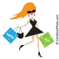 menina, engraçado, sacolas, shopping