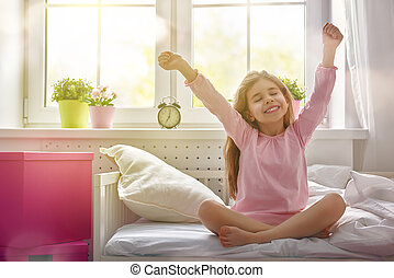 menina, ensolarado, desfruta, manhã