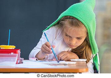 menina, enthusiastically, tintas, aquarelas, sentando uma tabela, em, a, jarda