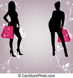 menina, esboço, dois, na moda