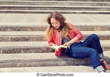 menina, escadas