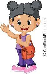 menina escola, andar, caricatura