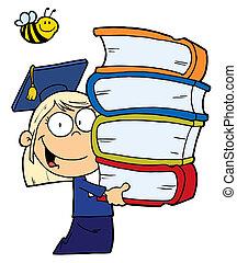 menina escola, loura, graduado