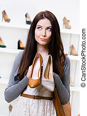 menina, escolher, can't, sapatos
